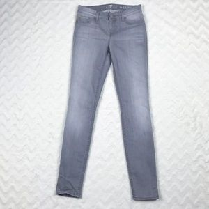 7 For All Mankind Grey The Skinny Jeans Sz 26